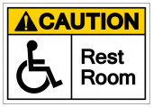 Caution Rest Room Symbol Sign Vector Illustration Isolated On White Background Label EPS10