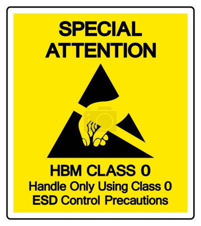 Special Attention HBM Class 0 Handle Only Using Class 0 ESD Control Precautions Symbol Sign, Vector Illustration, Isolated On White Background Label .EPS10