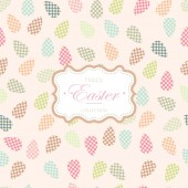 Easter greeting card in retro style Background with rabbits and painted Easter eggs in cute pastel shades