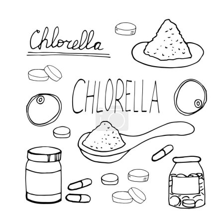 Photo pour Chlorelle dessinée à la main dans un style doodle. Ensemble d'éléments pour le design, la collection. super aliment, algues, comprimés, capsules, cuillère en poudre, monochrome - image libre de droit