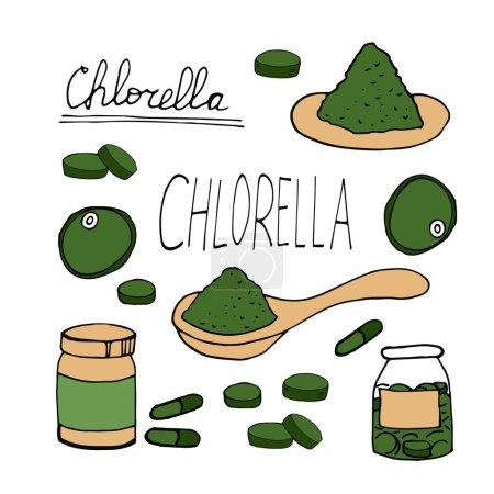 Photo pour Chlorelle dessinée à la main dans un style doodle. Ensemble d'éléments pour le design, la collection. super aliment, algues, vert, comprimés, capsules, cuillère en poudre - image libre de droit