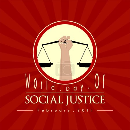 Illustration pour Journée mondiale de la justice sociale, avec la main droite lève la balance - image libre de droit