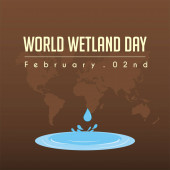 World Wetland Day puddle vector cartoon design with brown world map background