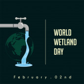 World Wetland Day faucet that drains water on earth