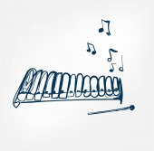 glockenspiel sketch line vector design music instrument