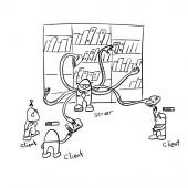 client server file torrent illustration vector sketch doodle