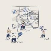 client server file torrent illustration vector doodle sketch