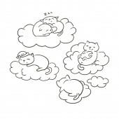 doodle cute little cat vector sletch coloring book dreams clouds sleep