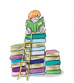reading boy on books vector clip-art concept of knowledge and education for children