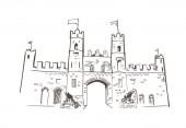 line art isolated Kilkenny gates castle vector sketch