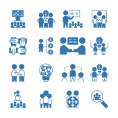 Simple Set of Team Work icon vector glyph style blue color sign symbol