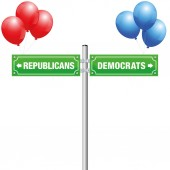 DEMOCRATS or REPUBLICANS written on street signs with red and blue balloons to choose ones favorite party government politics ideology - isolated vector illustration on white background