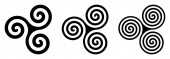 Three black Celtic triskelion spirals over white Triple spirals with two three and four turns Motifs of twisted and connected spirals exhibiting rotational symmetry Isolated illustration Vector