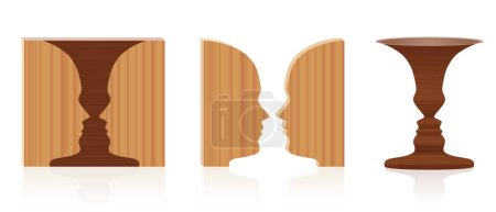 Illustration for Faces vase optical illusion. Wooden textured 3d figure-ground perception. In psychology known as identifying figure from background. Vector illustration over white. - Royalty Free Image