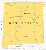 New Mexico political map with capital Santa Fe borders important cities rivers and lakesState in the Southwestern region of United States of America English labeling Illustration Vector