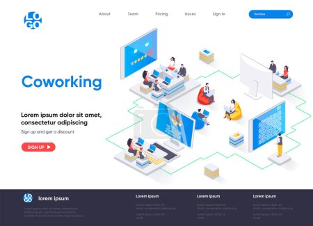 Coworking space isometric landing page. Freelancer...