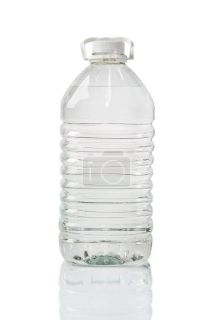 Photo for Transparent plastic canister on white background - Royalty Free Image