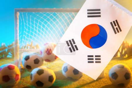 Photo for Football team of Korea. Flag of Korea with a soccer ball. Football championship. the flag of the Republic of Korea at the stadium. Team on football. - Royalty Free Image