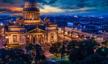 Photo for Russia. St. Isaac's Cathedral in St. Petersburg. The poster of Russia. Tourist center of Saint-Petersburg. Museums of Petersburg. Summer poster of St. Petersburg - Royalty Free Image