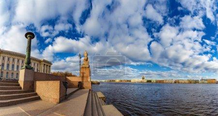 Embankment of St. Petersburg. Rivers and canals in Petersburg. Vasilyevsky Island. Sunny day in Petersburg. Russia.