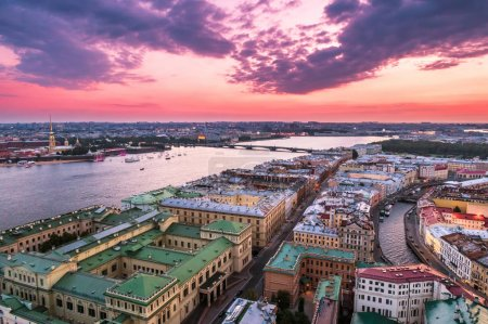 Photo for Saint Petersburg. Neva River. View of the city of St. Petersburg from a height. Center of Petersburg. Russia. Architecture of Petersburg. Streets of St. Petersburg. - Royalty Free Image