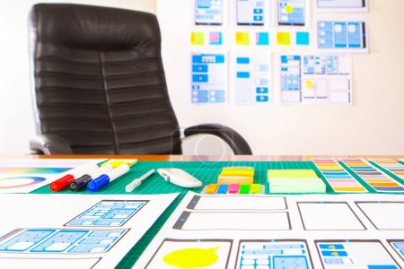 Photo for UX UI designing. Workplace graphic designer. Web interface development. Web programming. Designing a mobile application framework. wireframing. Digital industry. - Royalty Free Image