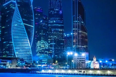 Photo for Moscow, Russia. Russia. Winter. Night city. Moscow city in winter. Panorama of Moscow River. Architecture of Russia. Bridge. Quay. - Royalty Free Image