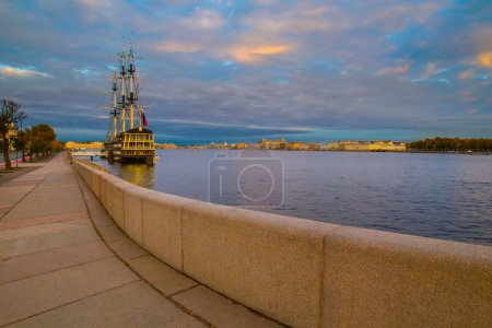 Photo for Embankment of the Neva River. St. Petersburg. Sailing frigate in St. Petersburg. Russia. - Royalty Free Image
