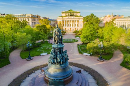 Photo for Saint-Petersburg. Russia. Ostrovsky square. Alexandrinsky theatre. Catherine garden. Nevsky Avenue. Center of St. Petersburg. Petersburg architecture. Russian cities. Travel to Petersburg. - Royalty Free Image