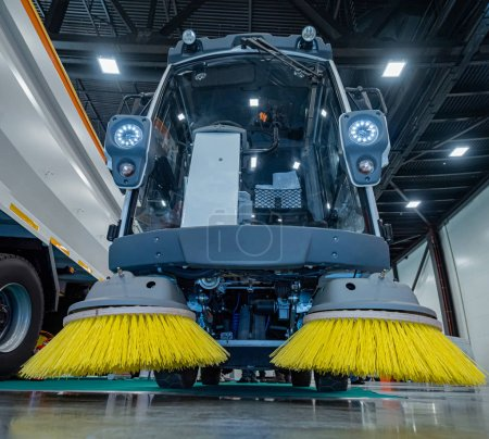 Photo for Professional scrubber. Cleaning machine. Vacuum sweeper. Mechanical cleaning of premises. Scrubbing equipment. Cleaning services. - Royalty Free Image