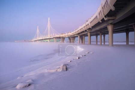 Saint-Petersburg. Russia. Modern highway on stilts through the w