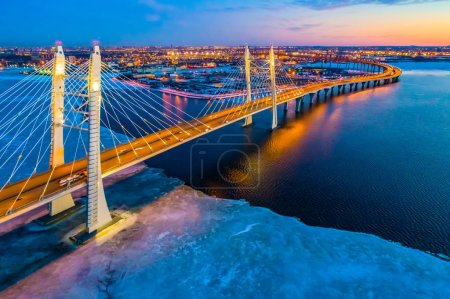 Saint-Petersburg. Russia. Illuminated evening cable-stayed bridg