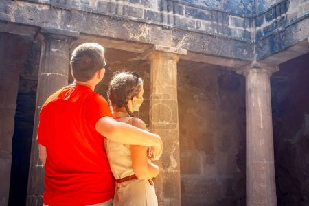 Photo for Cyprus. Paphos Archaeological Museum of Paphos. Tourists in the archaeological museums. People look at the ruins of buildings. Tourists in the archaeological park. Travels in Cyprus. Attractions - Royalty Free Image