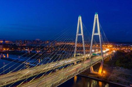 Bridges Of Petersburg. The Roads Of St. Petersburg. Rivers Of St. Petersburg. Obukhov bridge in the evening. Vansu bridge. Russia. Highway.