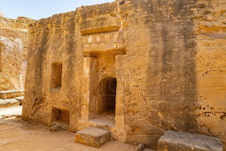 Photo for Cyprus Republic. Pathos. Paphos Royal tombs. Tombs of the Kings. Ancient grave niches in stone. The archaeological site of Paphos. Touristic sightseeing in Cyprus. Travel to Cyprus. - Royalty Free Image