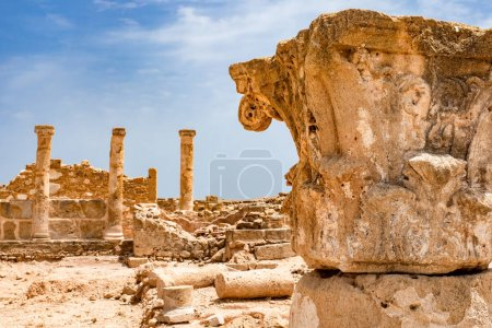 Photo for Cyprus. Pathos. Archaeological Park of Paphos. Columns of antique buildings. Excavations on the Mediterranean coast. Archaeological memorial in Cyprus. Ruins on the islands of the Mediterranean. - Royalty Free Image
