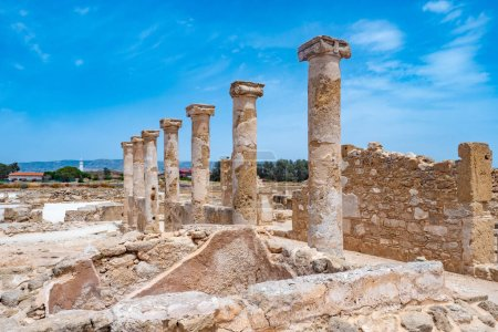 Photo for Cyprus. Archaeological park in the city of Paphos. Excavations in Cyprus. Ancient columns. The ruins of an ancient city. Sights of the city of Paphos. Mediterranean coast. Tours in Cyprus. - Royalty Free Image