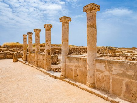 Photo for Island of Cyprus. Columns on the ruins of Paphos. Fragments of an ancient city in Paphos. Basilica. Archaeological excavations. Sightseeing In Cyprus. Trip to Cyprus. - Royalty Free Image