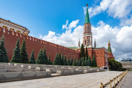 Moscow. Russia. Kremlin. Tribune on Red Square. Walls of the Kremlin. Moscow on the background of blue sky. Places to observe the joy. Tours in Moscow. Tours in Russia. Seats for viewers.