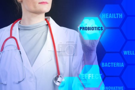 Photo for Probiotics bacteria. Medic girl clicks on inscription probiotics. Medical products with probiotics. Disease treatment. Use of bacteria to treat bacteria. Useful microorganisms. Immunity recovery. - Royalty Free Image