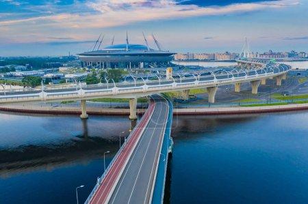 Saint Petersburg. Russia. Road infrastructure of St. Petersburg. Cable-stayed road bridge. Road junction. Highways in different directions. Obukhov bridge. Krestovsky island.
