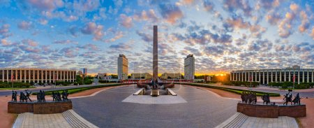 Photo for Panorama of Saint Petersburg. Of Russia. Victory Square in St. Petersburg. Panorama of summer St. Petersburg. Monument to defenders of Leningrad. Summer sunset inRussian city. Cities of Russia - Royalty Free Image