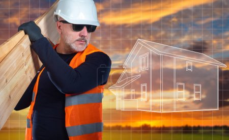 Photo for 3d model of  house. Builder man on background of evening nature. Three-dimensional model of house next to builder. Builder holds boards on his shoulder. Concept - construction design. - Royalty Free Image