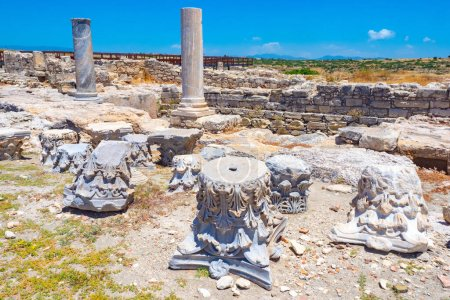 Photo for Paphos. Cyprus. Archaeological Museum in Cyprus. Ruins of an ancient city. Columns of ancient buildings in a museum. Archaeological Park of Paphos. Open air museum in cyprus. Travel to Paphos. - Royalty Free Image