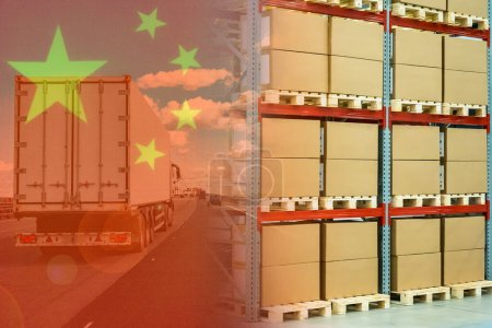 Photo for Delivery of goods from China. Delivery truck on the background of the flag of China. Delivery truck loads from China. Import of Chinese goods. Transport and logistics company. Freight from Asia - Royalty Free Image