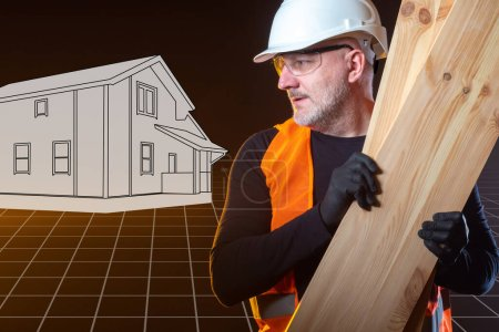 Photo for Construction materials. Builder on background of drawn house. Wooden beams in hands builder. Concept - purchase construction materials. Materials for construction companies. Man holds wooden boards - Royalty Free Image