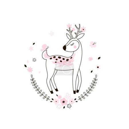cute bambi kid doodle illustration
