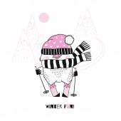 Vector illustration of funny cartoon penguin on pink skis