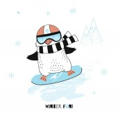 Vector illustration of funny penguin on blue snowboard