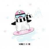 Vector illustration of funny penguin on pink snowboard
